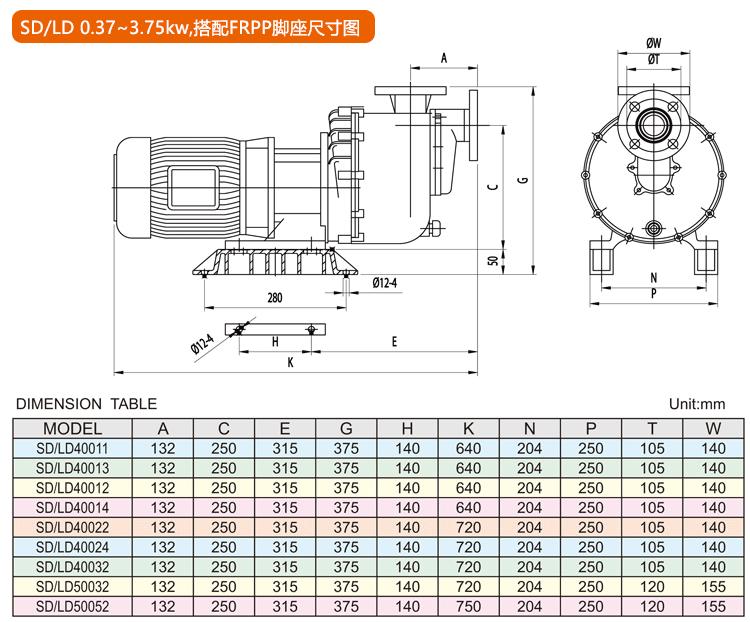 塑宝自吸泵安装尺寸图