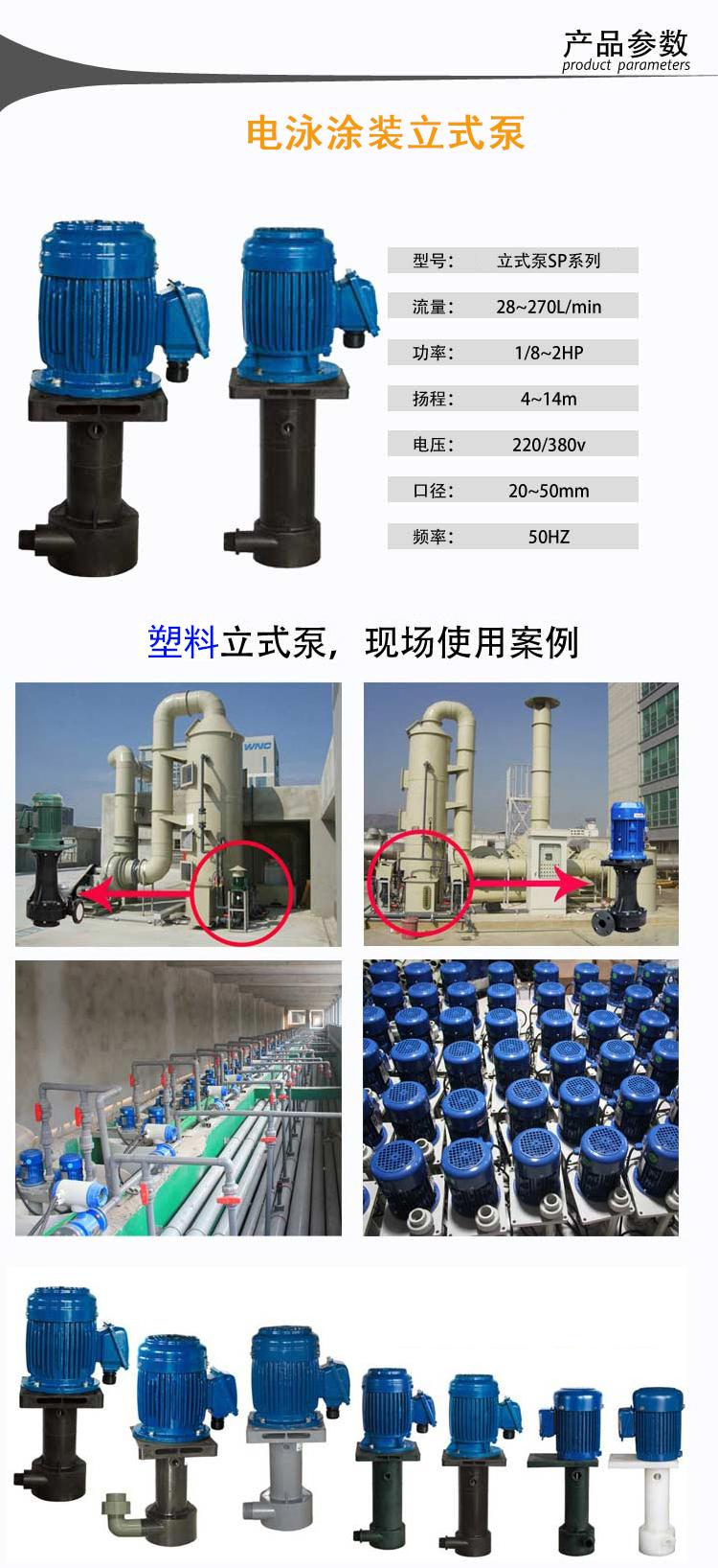 塑宝立式泵参数案例